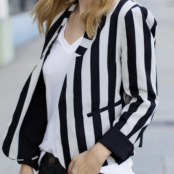 Line & Dot REVOLVE stripe grey & black blazer NWT